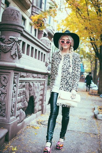 i hate blonde blogger coat cat eye platform high heels clutch print leather pants