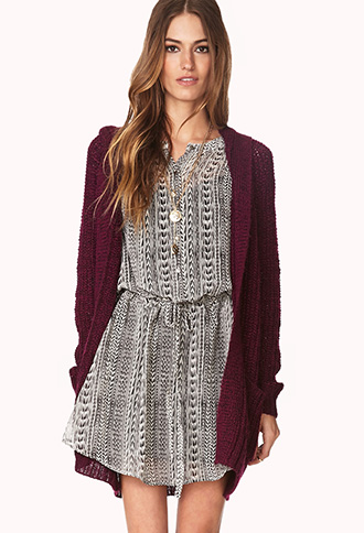 Cozy Hooded Open-Knit Cardigan | FOREVER21 - 2000066404