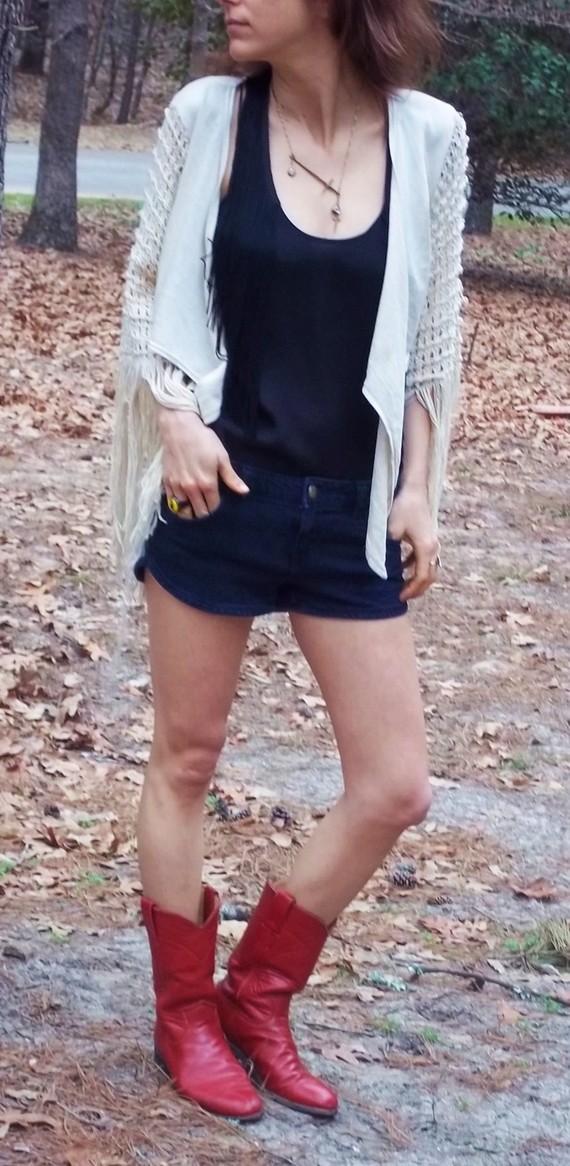 70s crochet sleeve cardi by beforeafton on etsy