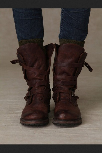 Shoes: combat boots, leather, brown, vintage, straps, buckles ...