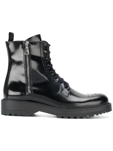 Prada women lace leather black shoes
