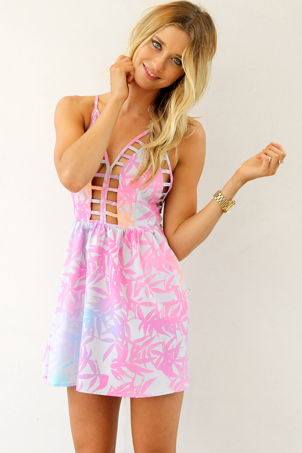 Printed halter dress with cutout