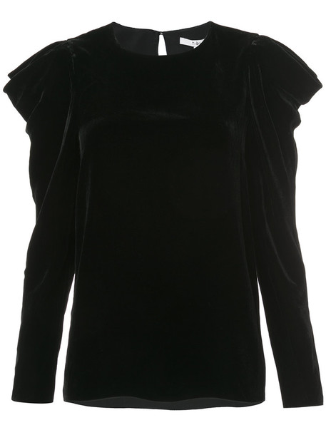 Tibi blouse women draped black silk top