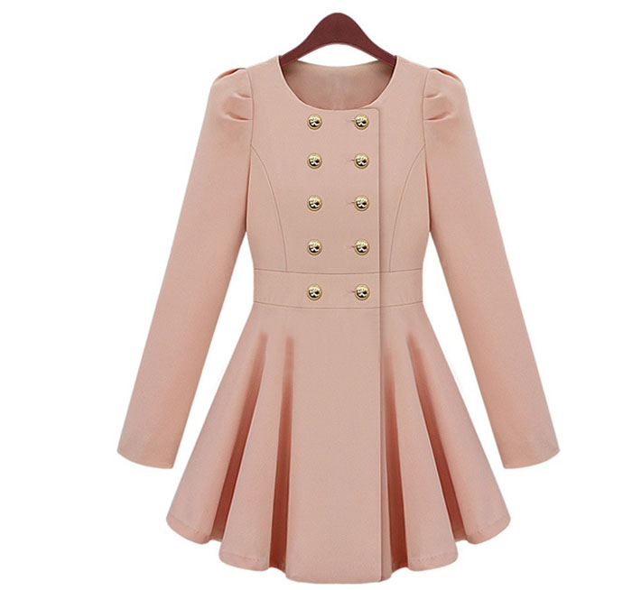 Breasted puff sleeve wind coat for women china wholesale