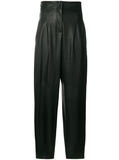 Erika Cavallini high women leather black pants