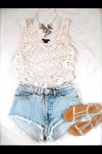 shirt white lace shirt blouse sandals shoes shorts cut off shorts faded blue shorts blue short top