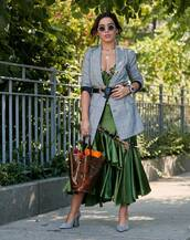 shoes,mules,blazer,bag,asymmetrical dress,ruffle dress,sunglasses,western belt