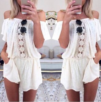 romper rose wholesale off the shoulder cute cute outfits white dress boho sunglasses spring outfits off-white chic lace top style streetstyle
