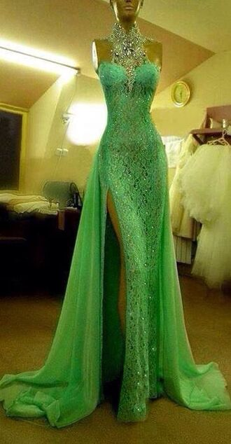 lime green dress sparkly dress prom dress long prom dress glamour body fitted dress necklace rocks dress lace dress evening dress green lace dress long evening dress pageant dress green green dress strapless jewels maxi dress slit dress gown green prom dress