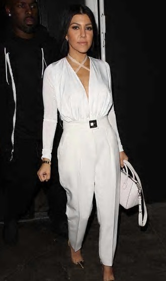 jumpsuit white givenchy givenchy bag all white everything straight hair black heels belt kourtney kardashian kourtney kardashian style srap