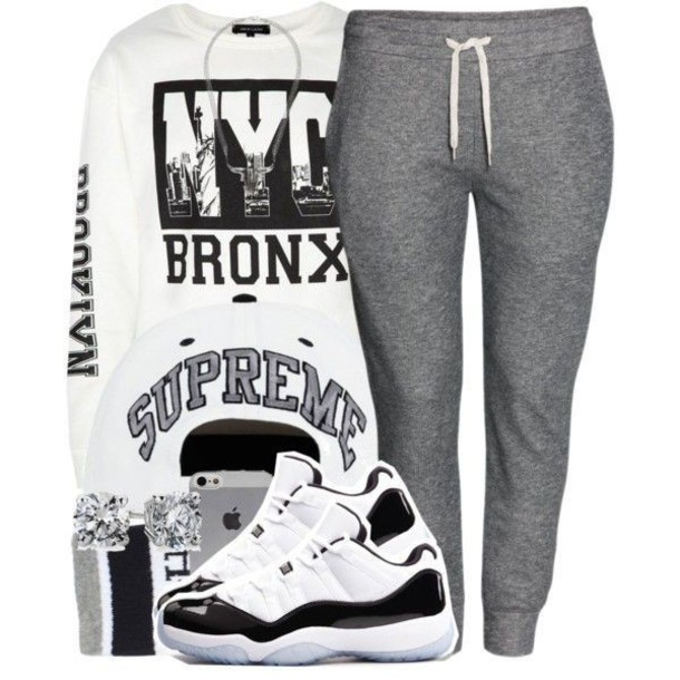sweater joggers grey jordans supreme new york city bronx white black pants shoes dope iphone snapback outfit top