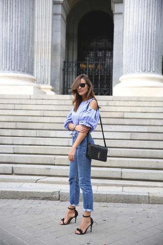 lady addict blogger yves saint laurent shoulder bag cropped jeans high waisted jeans bell sleeves long sleeves sandal heels black heels striped top blue top date outfit ysl isabel marant cut out shoulder