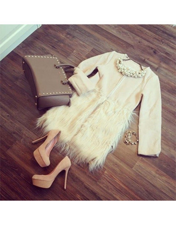 jacket fur faux fur beige fall winter trench coat wow bag jewels