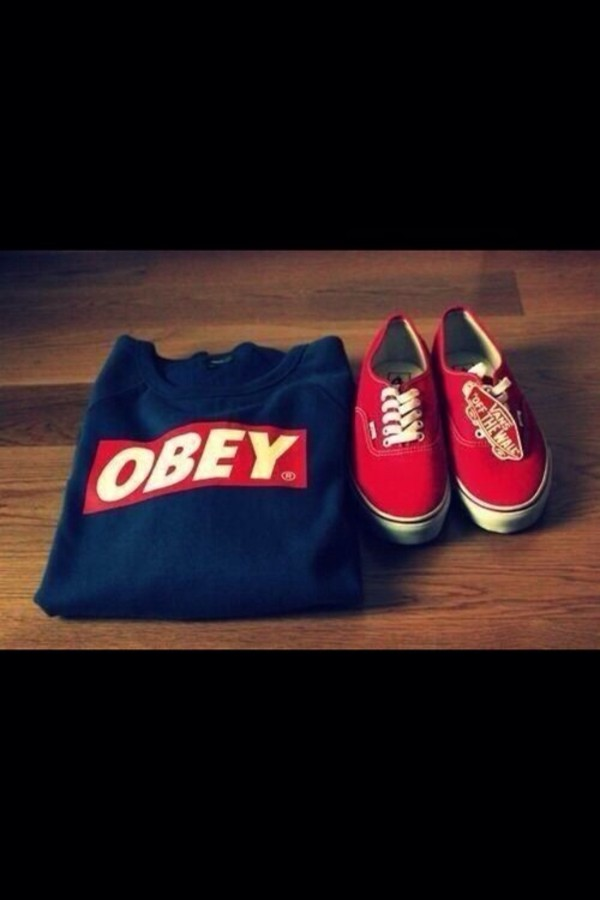sweater obey red vans