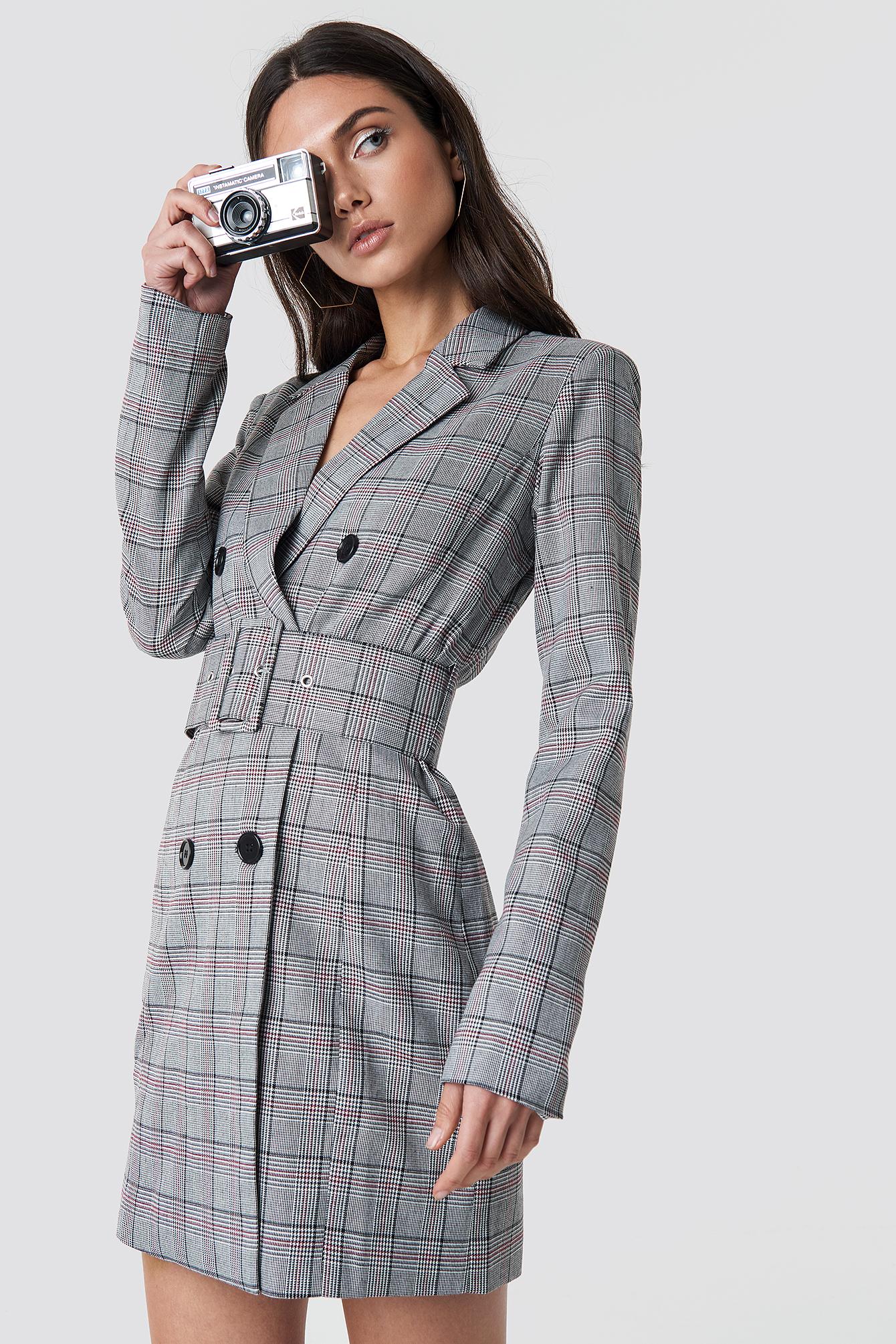 Checked Belted Blazer Dress Grey