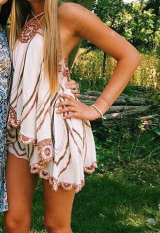 dress brown white romper halter neck embroidered