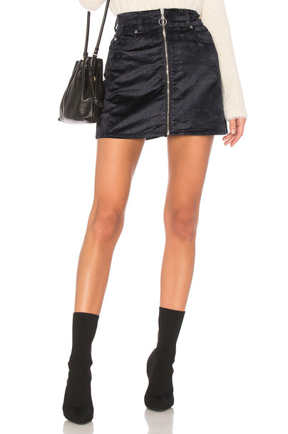 7 For All Mankind skirt mini skirt mini zip navy