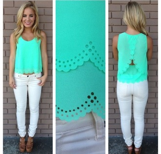 tank top scalloped shirt cutee style summer top