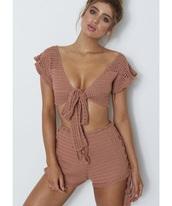 shirt,crotchet nude bikini top hippy bohemian festival