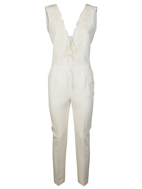 Ermanno Ermanno Scervino Laced Long V-neck Jumpsuit in white