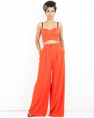 pants outfit outfit set orange orange outfit orange pants orange crop top linen linen pants