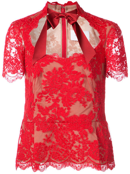 Marchesa blouse women lace cotton silk red top