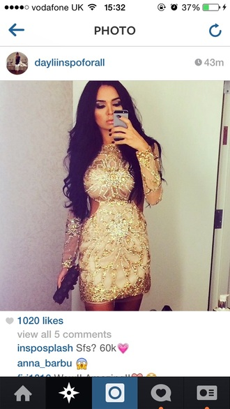 mesh cut-out dress cut-out lace dress sparkles swag dreses cut-out dress gold sequins body con long sleeves