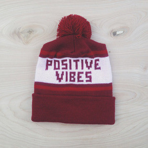Charlavail PRE-ORDER Burgundy Positive Vibes Knit Beanie - Polyvore
