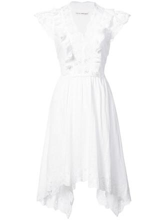 dress embroidered women draped white cotton