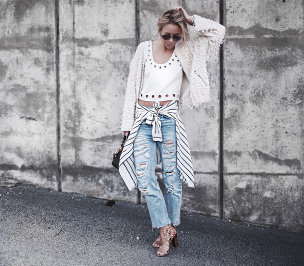 happily grey blogger stripes ripped jeans white top fluffy