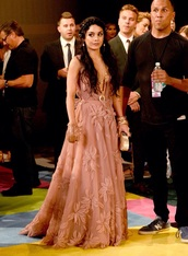 dress,vanessa hudgens,mtv,vma,long,long dress,gown,flowers,floral,v neck,pink,light pink,style,clothes,ball gown dress,mtv movie awards,wedding clothes