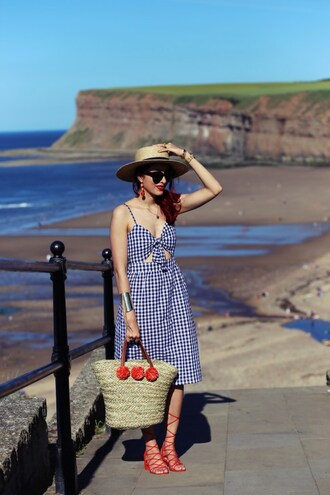 preppy fashionist blogger hat dress sunglasses shoes bag jewels gingham gingham dresses basket bag sandals red shoes midi dress sun hat summer outfits