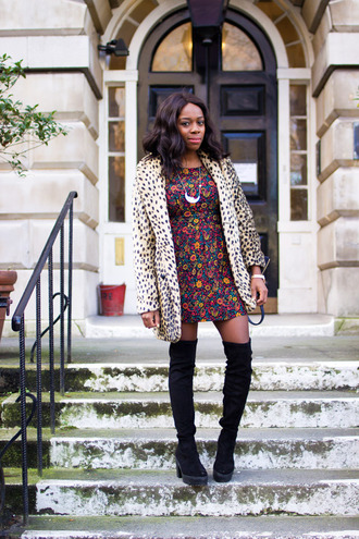 i want you to know blogger coat patterned dress animal print thigh high boots winter outfits