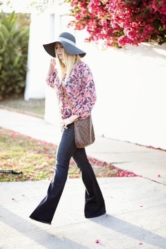devon rachel blogger jeans 70s style felt hat flare boho shirt louis vuitton bag folk hippie flare jeans