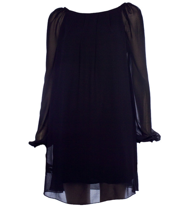 Womens black chiffon tunic dress