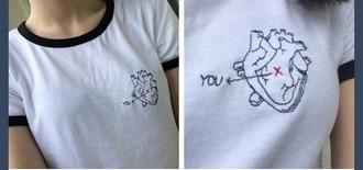 t-shirt heart you shirt top
