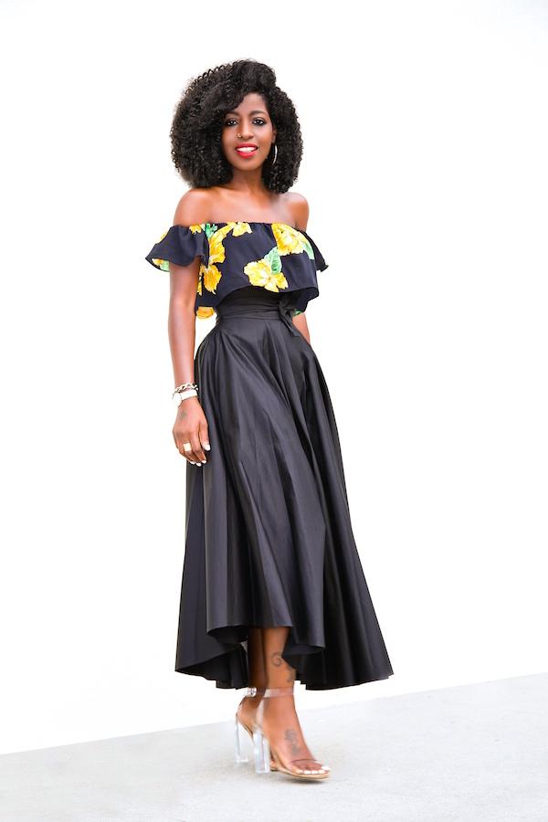 Style Pantry   Floral Off Shoulder Crop   Belted Swing Midi Skirt