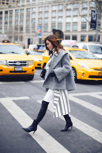 tsangtastic blogger pants fluffy grey jacket winter jacket black boots stripes shoes bag