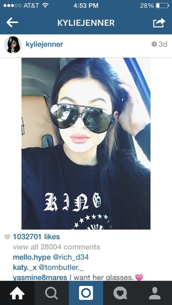 sunglasses black sunglasses kylie jenner top kylie black sweater kylie jenner black sweater with white printing black