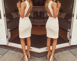 dress white backless short style