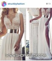 dress,white,metal belt,flowwy,white dress,lace dress