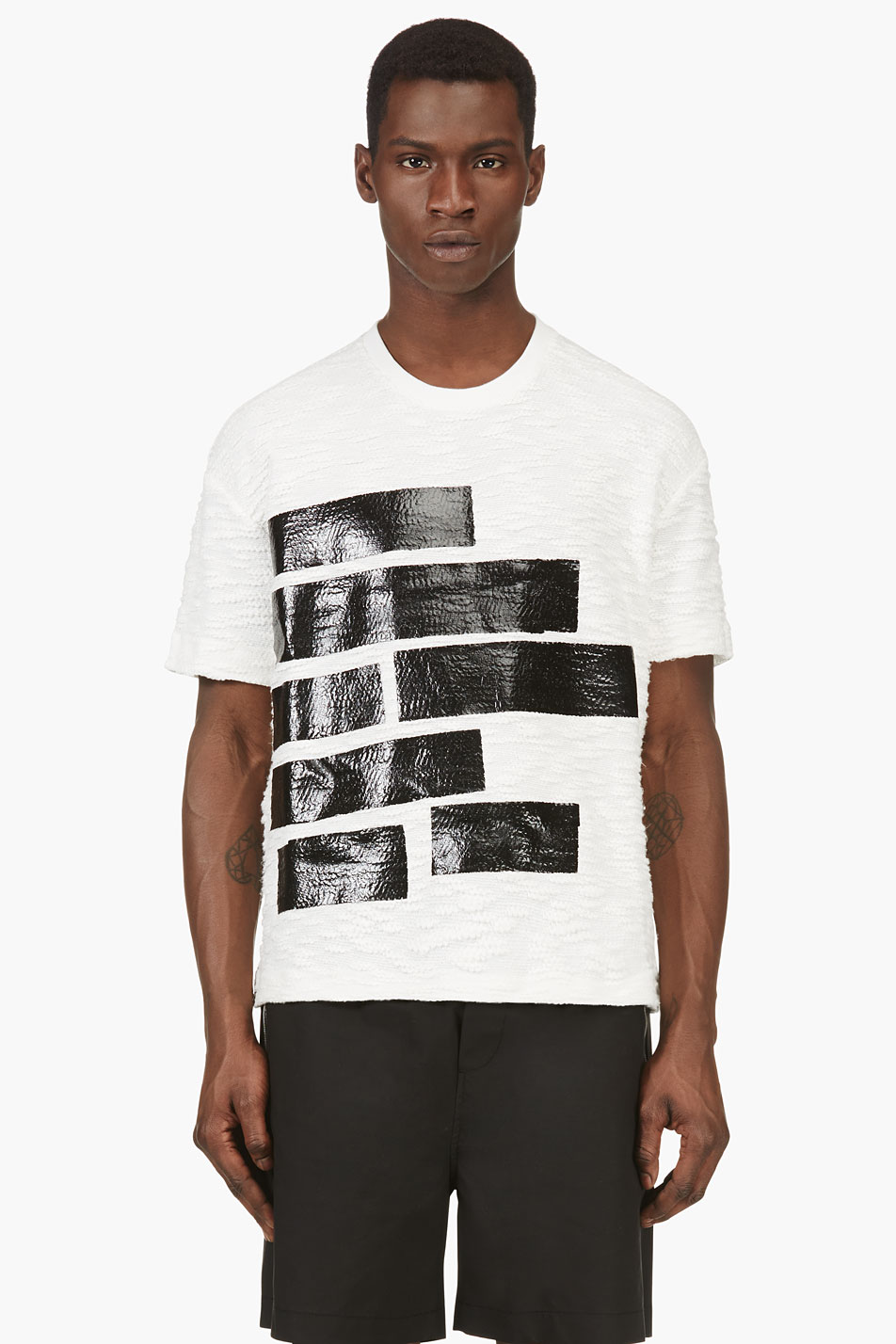 kenzo ivory and black redacted print t_shirt