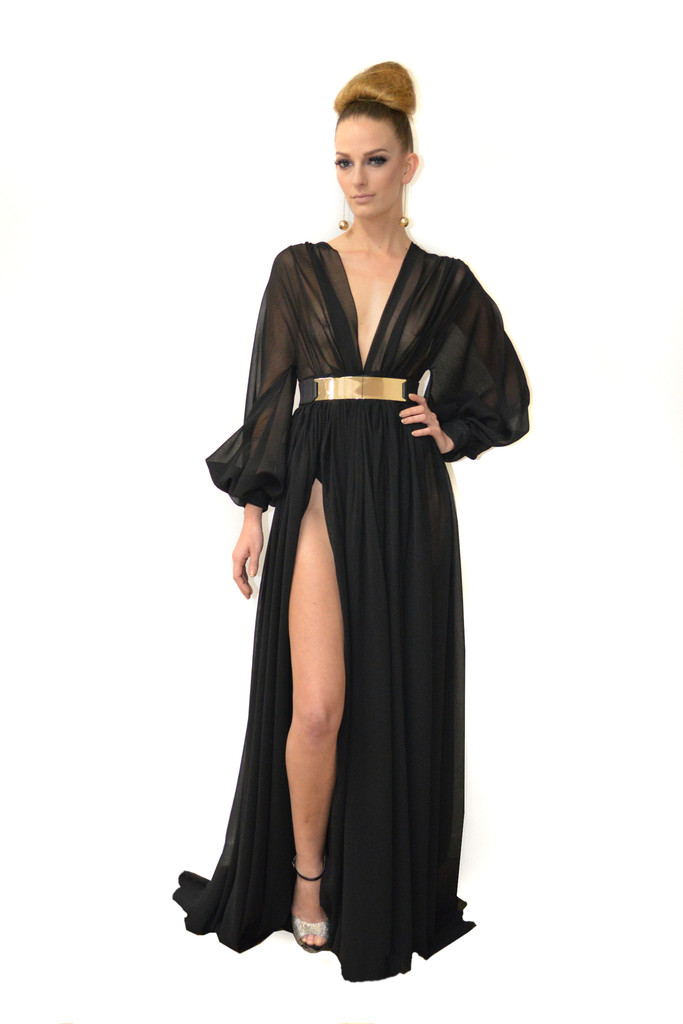 Long sleeve chiffon gown - MTCostello