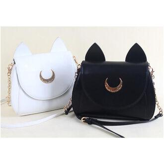 bag cute kawaii sailor moon fashion hipster white black anime manga accessory