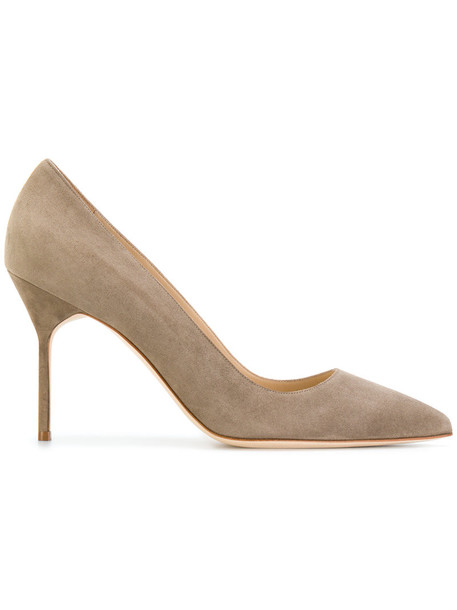 Manolo Blahnik women pumps leather suede grey shoes