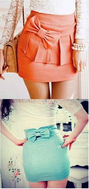 skirt mint coral girl clothes green orange bow formal short skirt blue light blue light green pastel skirt bow skirt turquoise teal pencil skirt girly mini skirt summer outfits kawaii cute skirt