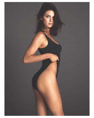 swimwear black kendall jenner editorial kardashians bodysuit tank top top