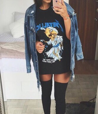 t-shirt black art shirt dress metallica