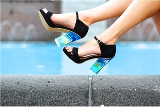 shoes high heels gradient cute black clear heels sandals platform shoes jeffrey campbell