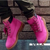 hot pink,timberlands,timberland boots shoes,boots,pink,shoes